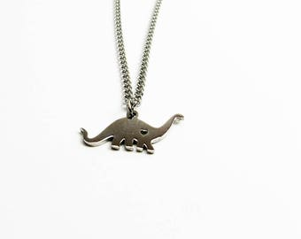 Dinosaur Necklace - Steel Brontosaurus Pendant for Scientist, Paleontologist