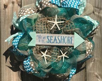 Beach wreath,burlap wreath ,summer wreath, seashell wreath, starfish wreath, spring wreath, southern wreath, aquamarine wreath