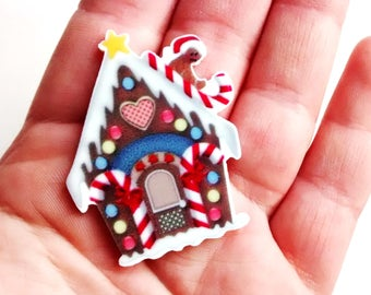 1/3 pieces - gingerbread house cabochon - pendant - cabs - kawaii decoden kit - craft supplies - no hole - clown - goth - hansel gretal