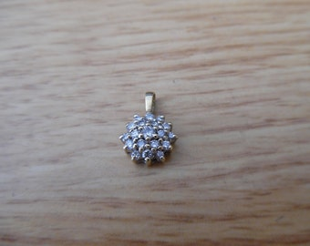 10k yellow gold 1/4ct diamond snowflake necklace pendant