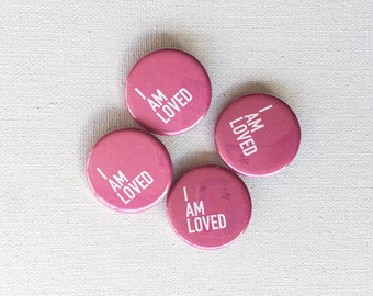 valentine's love flair: button pin, button badge set, i am loved buttons