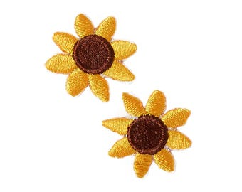Sunflowers Iron On Applique, Floral Iron On Patch, Sunflowers Patch, Flower Applique, Flowers Patch, Embroidered Patch, Pack of 2