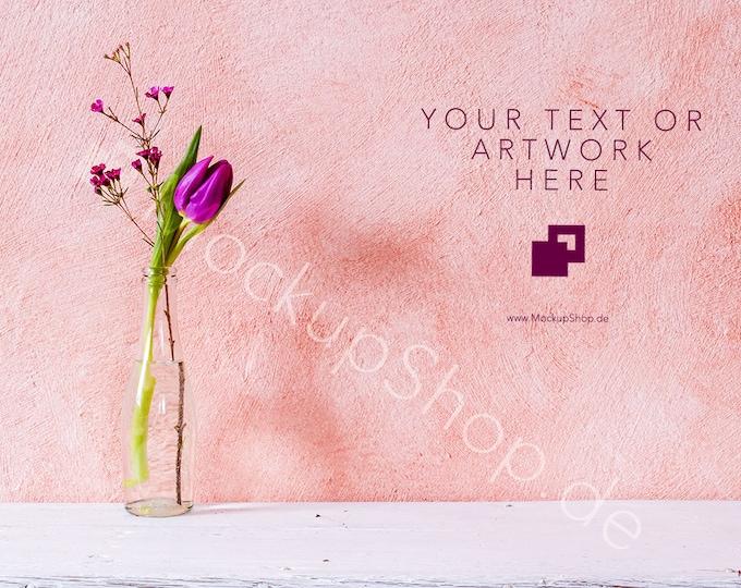Set of 3 FLOWER BACKGROUNDS  / tulip mockup / flower stock photo / stockphotography / valentines day / spring stock photo / frame mockup