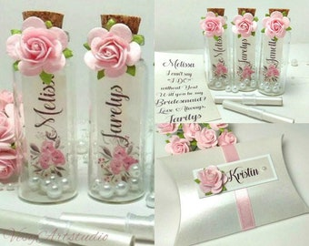 Bridesmaid Proposal Will you be my Bridesmaid Invitation  Message in a Bottle Bridal Party  Wedding Invitation Flower girl Gift