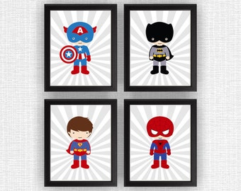 Super Hero wall art, Nursery Printable, Boy Room Playroom Decor Art, Super Hero Set of 4, 8x10, Super Hero INSTANT DOWNLOAD
