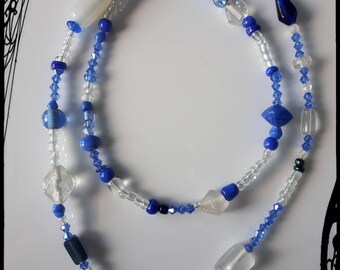 Blue beaded toggle clasp necklace with removable key charm