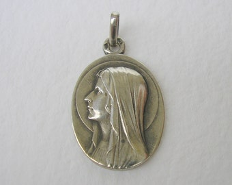Virgin Mary of Lourdes Sterling Silver Medal by Escudero / Antique French Religious Pendant
