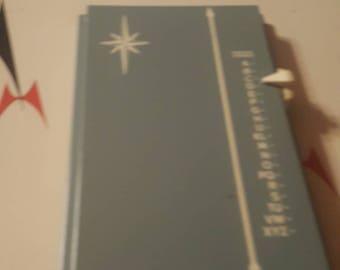 Mid Century Slate Blue Starburst Address Keeper