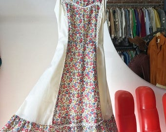 Vintage Seventies 1970s Cotton Prarie Sundress Dress Size Extra Small Petite
