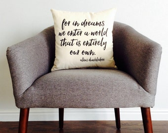 """Book Quote """"For In Dreams We Enter a World"""" Pillow - Pillow Cover, Harry Potter, Wizard, Book Lover, Gift for Her, Gift for Him"""