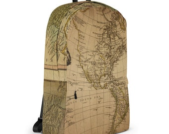 World map backpack etsy vintage retro wanderlust bohemian world traveler hipster antique map backpack gumiabroncs