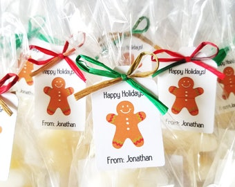Stocking Stuffer, Gingerbread man Soap, Holiday Gift Favor, Scented Soap, Gifts under 5, Sold in Sets of 12, Choose your Quantity
