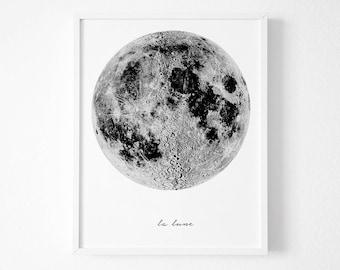 La Lune, Moon Poster , affiche scandinave, Vintage luna print, La Luna Moon art, Moon Print, Moon Wall art, affiche scandinave moon print