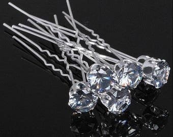 Wedding hair pins clear crystal bridal hair piece accessories peigne cheveux mariage Hair Jewelry
