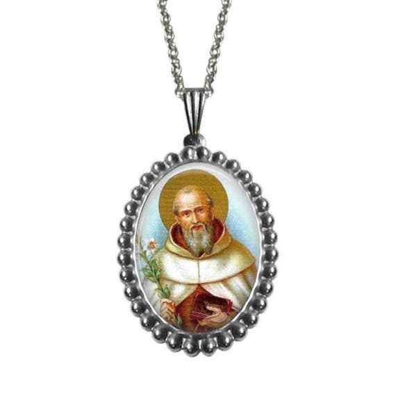 Saint Simon Stock Necklace - Patron Saint stainless steel Pendant with 18 or 24 inch stainless steel necklace