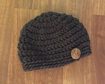Women's Sized Chunky Crocheted Toque Hat Beanie Grey