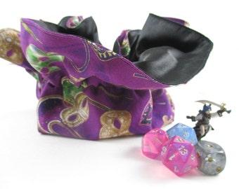 Purple Mardi Gras Mask Round Drawstring Bag, Dice Bag, Gift Bag, Large Size