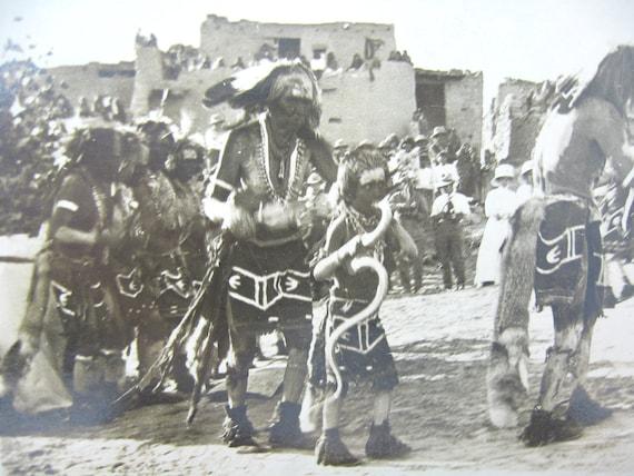Antique Native American Hopi Rare Photo Postcard Authentic Snake Rain Dance Early 1900s