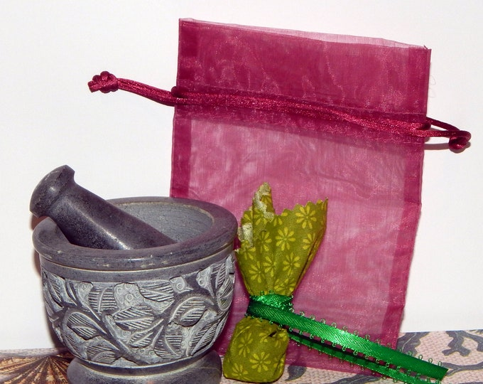 MOJO bag kit Fertility, Money, Prosperity & more - Gris Gris Juju bag - EZ DIY Kit includes custom herbal blend and crystals