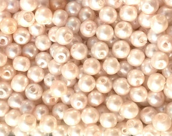 30 round beige glass pearls 4mm