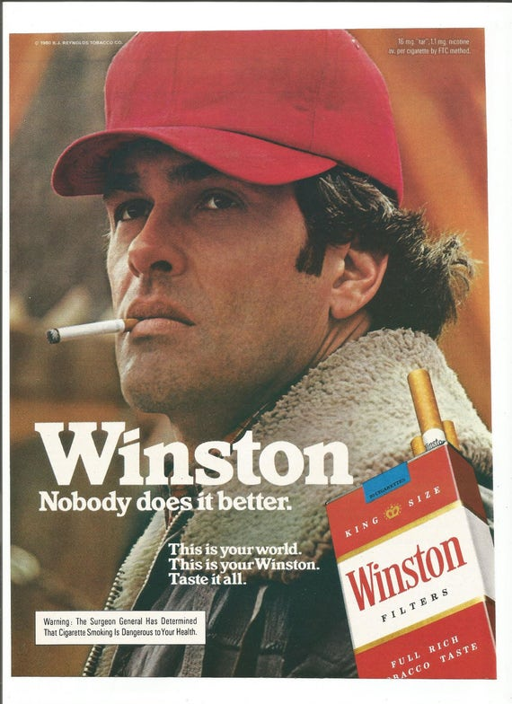 1980 Advertisement Winston Filters Cigarettes 80s Handsome Man
