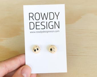 Dome Stud Earrings - Pastel Apricot with Black Speckle
