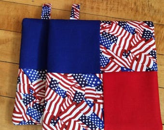 Old Glory, US Flag - Insulated Potholders, Set of Two