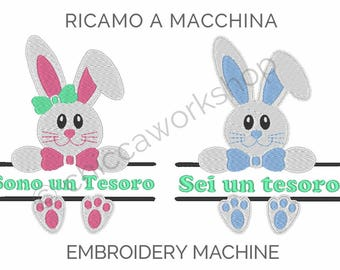 Custom embroidered bunnies - Embroidery files - Digital Download