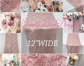"Dusty Rose Lace Table Runner/12ft-18ft long  x 12""wide/Lace Overlay/ Weddinds /wedding decor/wedding centerpiece/table decor/vintage"