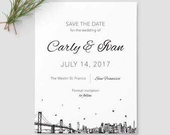 San Francisco Skyline Save the Date SAMPLE ONLY; San Francisco California city skyline
