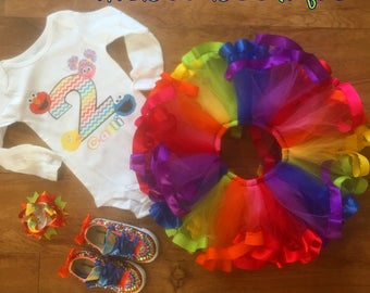 Sesame street tutu set with bling shoes
