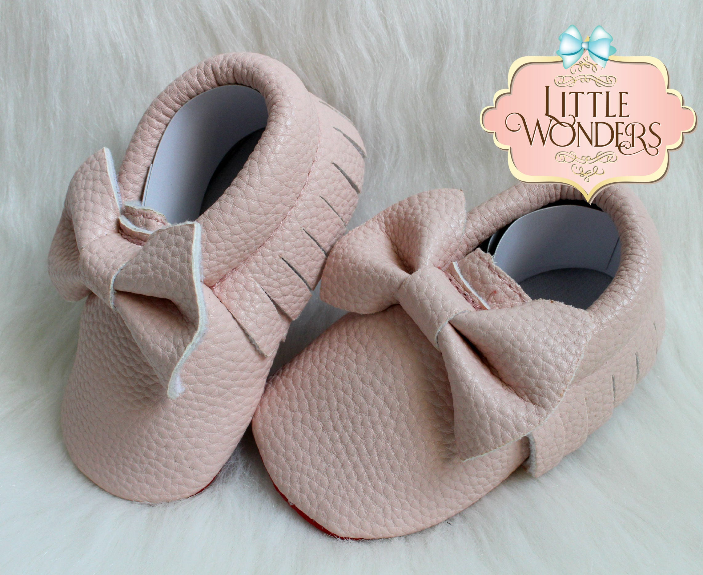 Baby Soft Sole Pink Red Bottom Fringe Bow Moccasins