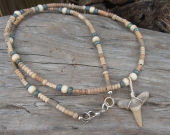 Florida Fossil Shark Tooth Pendant with Bone Czech Glass African Dig Beads Necklace