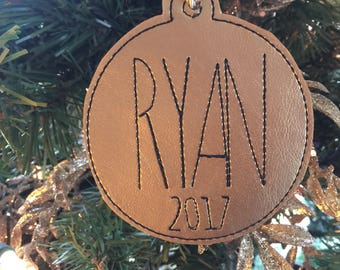 Personalized Christmas ornament - Farmhouse decor - embroidered keepsake - best Christmas decor - Christmas gift ideas - package topper