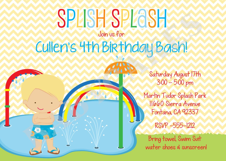 Generous water park birthday invitations images invitation card splash party invitation splish spalsh birthday invitation stopboris Choice Image