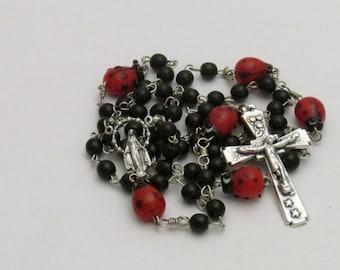 Handmade Ladybug Glass Bead Catholic Rosary
