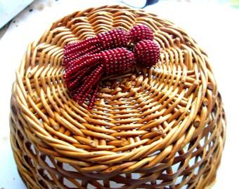Garnet Burgundy color/oscar de larenta/Short-tassel/handmade/ clip on earrings/earrings tassels/Unique Gift