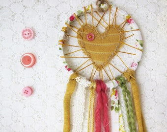 SALE Love Catcher, Shabby Chic Lace Dream Catcher, Vintage Inspired, Mustard Yellow & Pink, Country Wedding Decor