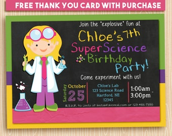 Girl Scientist Party Printable Invitation, Custom Science Party Invitation, Printable Science Birthday Party Invitation, Science Party