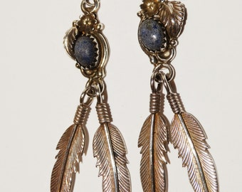 Navajo Sterling Silver Signed Lapis Lazuli Feather Earrings.