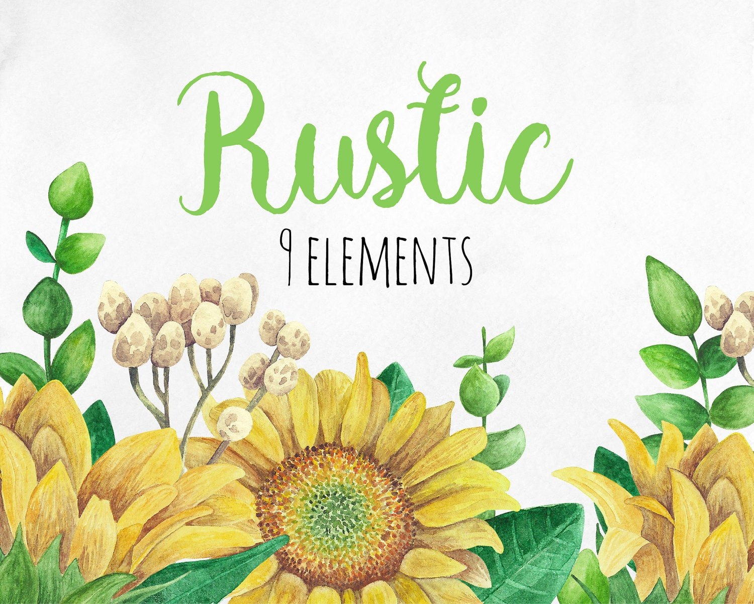 Rustic clip art Watercolor sunflower clipart Country ...