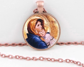 Virgin Mary with Child Pendant Necklace or Keyring Glass Art Print Jewelry Mother of Baby Jesus Christ Christian Catholic Religious Madonna