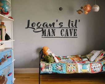 Lil' Man Cave Vinyl Wall Decals Personalized Custom Name Decals Boys Room decals