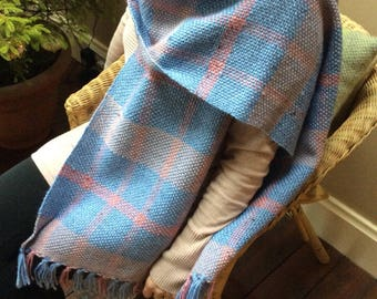 Handwoven Shawl, Handwoven Scarf, Handwoven Wrap, pink, baby blue, Checked Wool Shawl, Winter Wrap