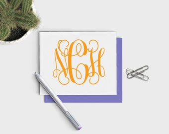 Clemson Colors Personalized Monogrammed Stationery Set - Custom Personalized Notecard Set