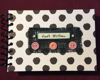 Journal, Journal Prompts, Prompt Journal, Gift Journal, Polka Dot Journal, Black & White Journal, Vintage Button Journal