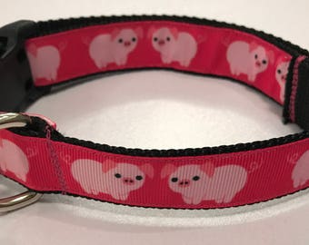 Pink Pigs 1 inch Dog Collar