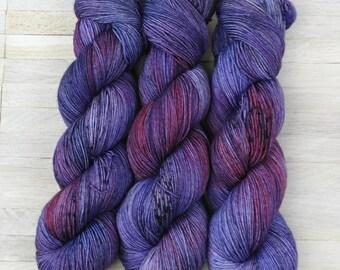 Hand Dyed Sock Yarn Superwash Merino - Yarntoyou  - PURE MERINO - Purple Hair