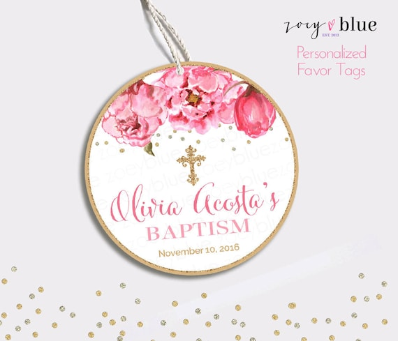 Floral Baptism Favor Tag Peony Christening Thank You Tags