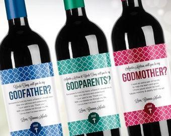 Custom Will You Be My Godmother, Godfather, Godparents? // Godparent proposal // Christening Gift // Baptism Gift // Custom Wine Label